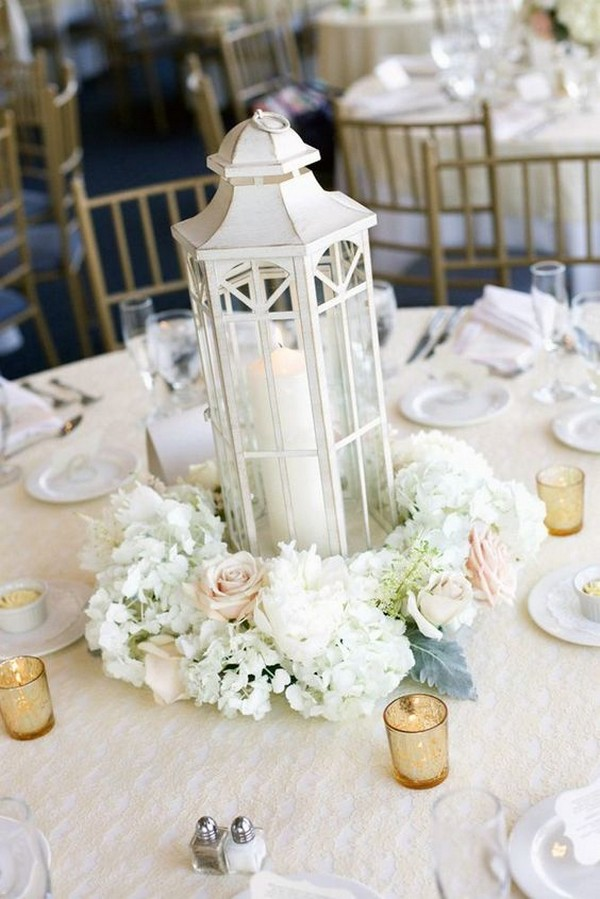 white blush and gold winter wedding centerpiece