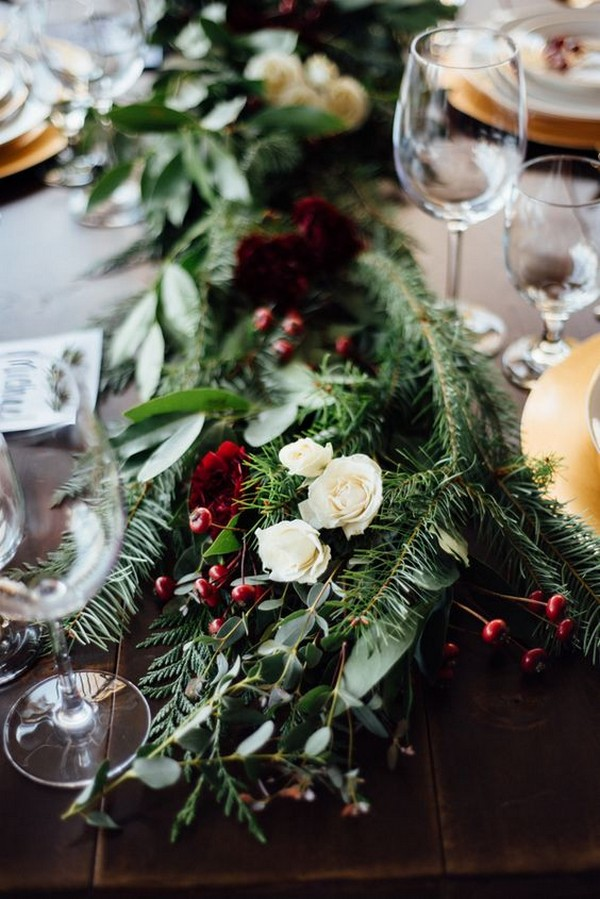 winter berries and greenery wedding centerpieces