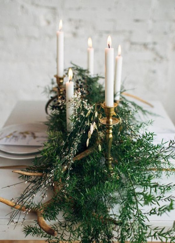 winter wedding centerpiece with candles