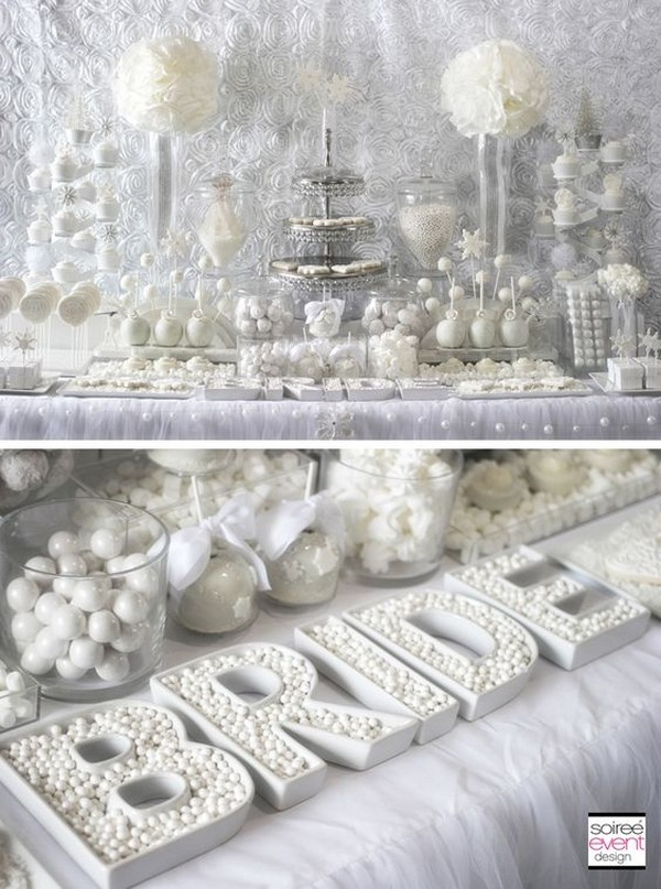 winter white bridal shower sweets table ideas
