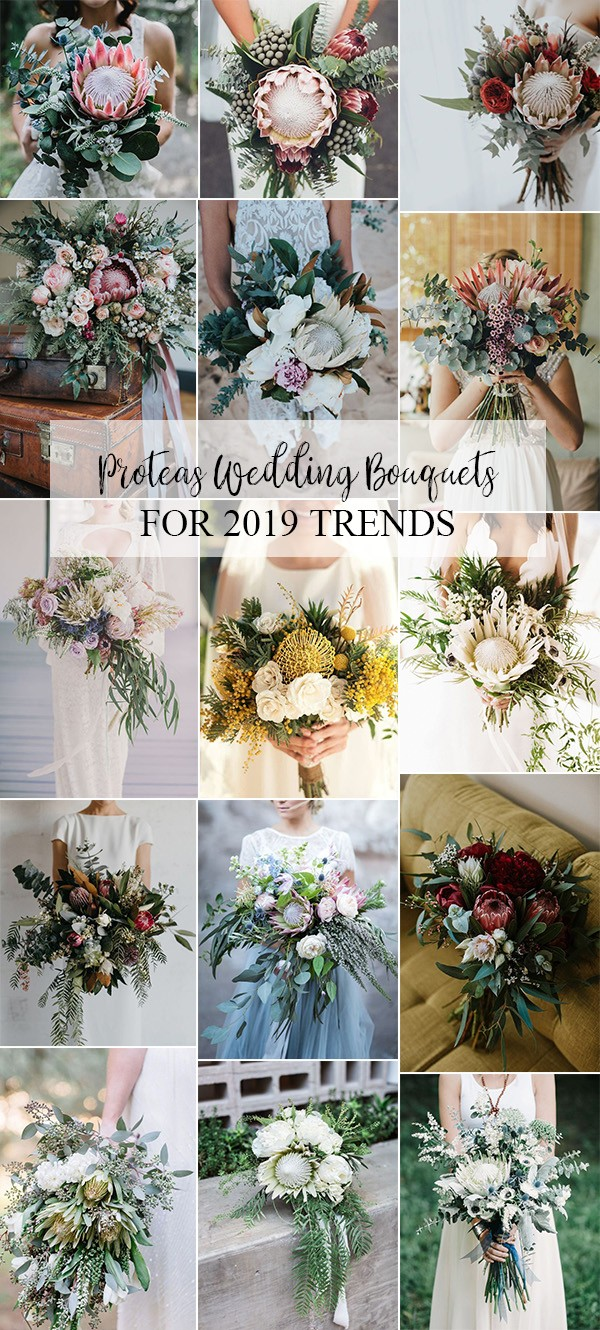 2019 trending proteas wedding bouquet ideas
