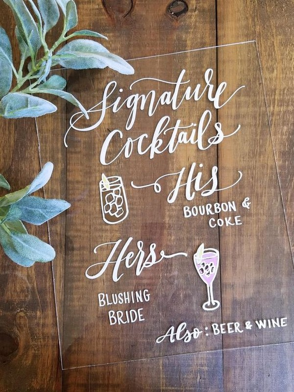 Acrylic Signature Cocktail wedding sign ideas