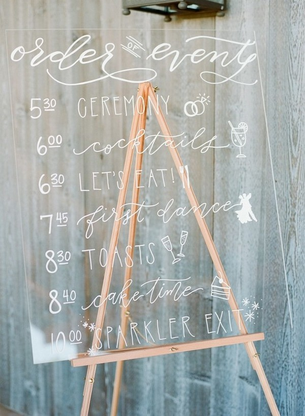 Hand-Lettered Acrylic Wedding Sign Ideas