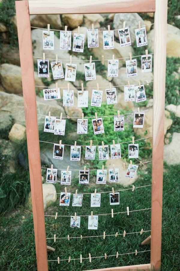 Polaroid photo wedding seating plan ideas