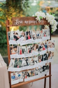 Polaroid wedding guest book ideas with love messages