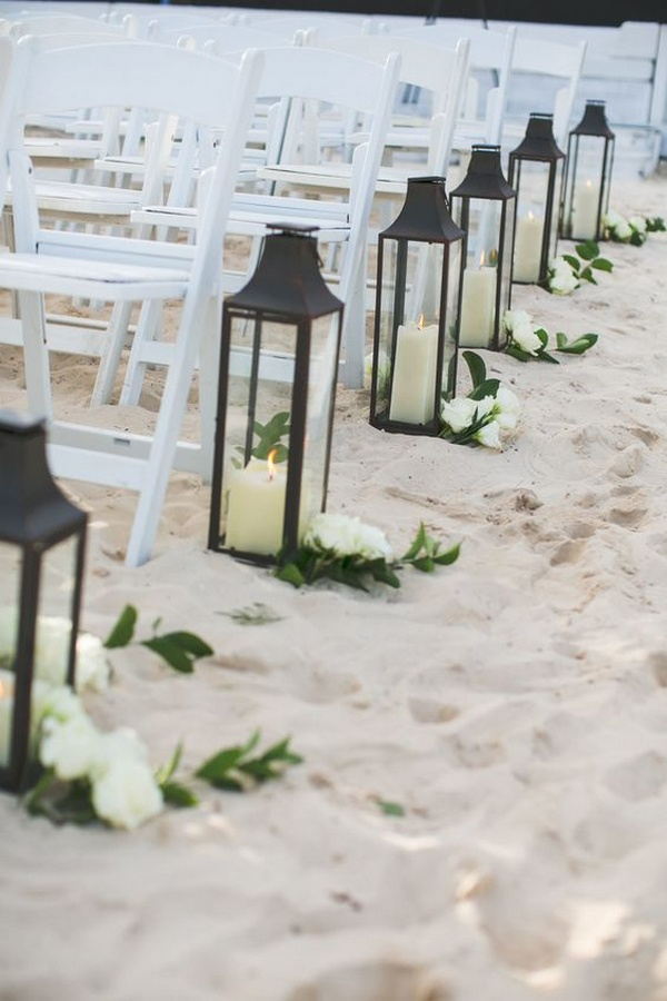 beach wedding aisle decorations with lanterns