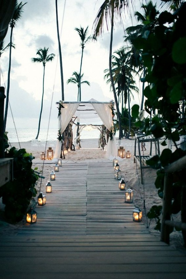 beach wedding aisle ideas with lanterns