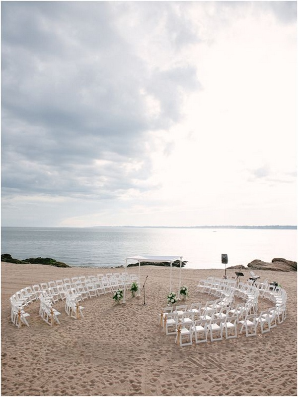 beach wedding ceremony set up in circle