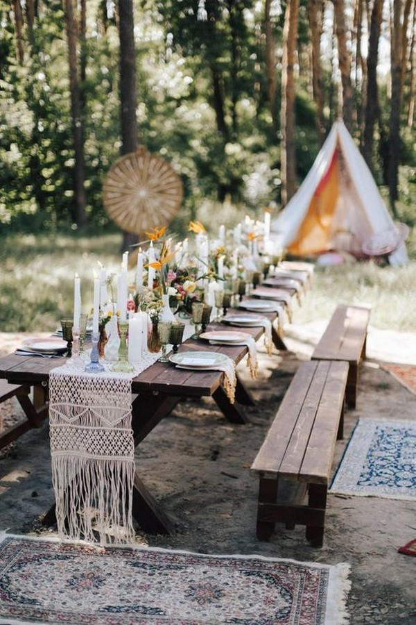 bohemian wedding reception ideas in the forest