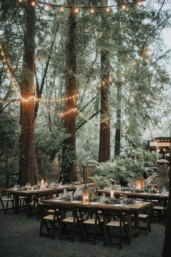 boho chic forest wedding reception ideas