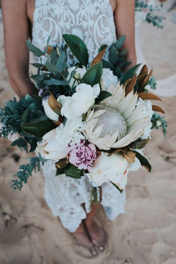 boho chic wedding bouquet with king protea