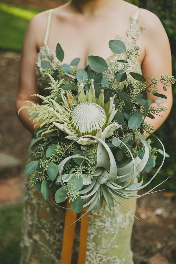 boho greenery wedding bouquet with protea