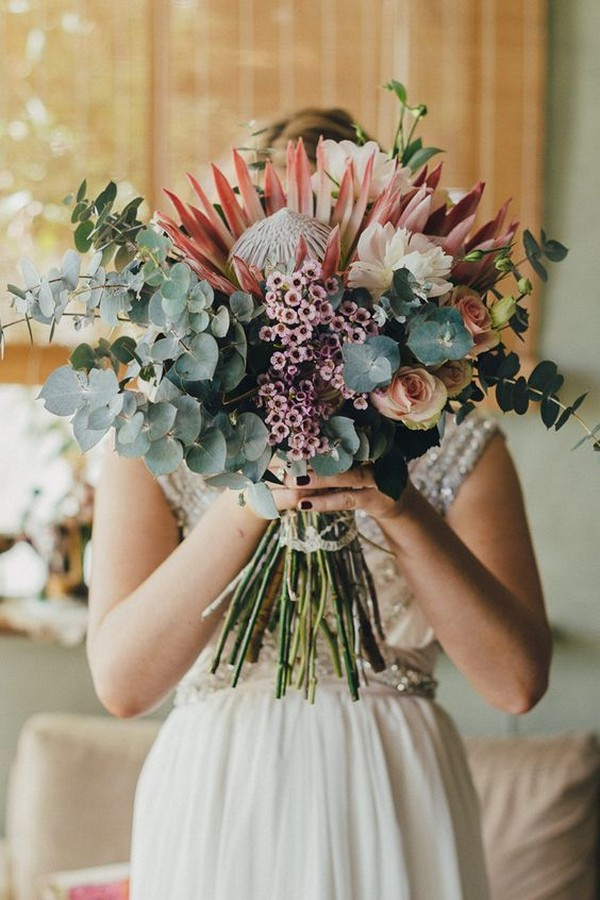 boho wedding bouquet ideas with protea