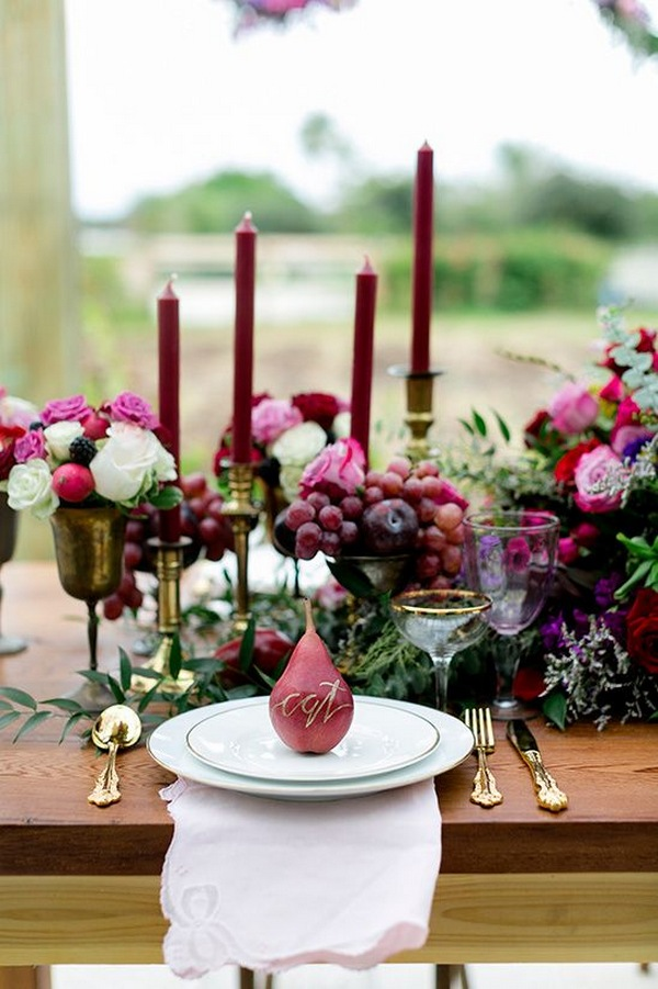 burgundy fall wedding table decoration ideas