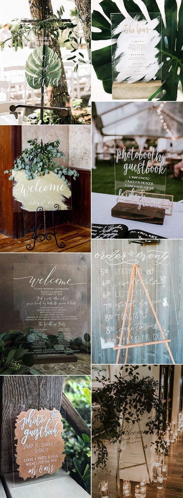 calligraphy acrylic wedding sign ideas for 2019 trends