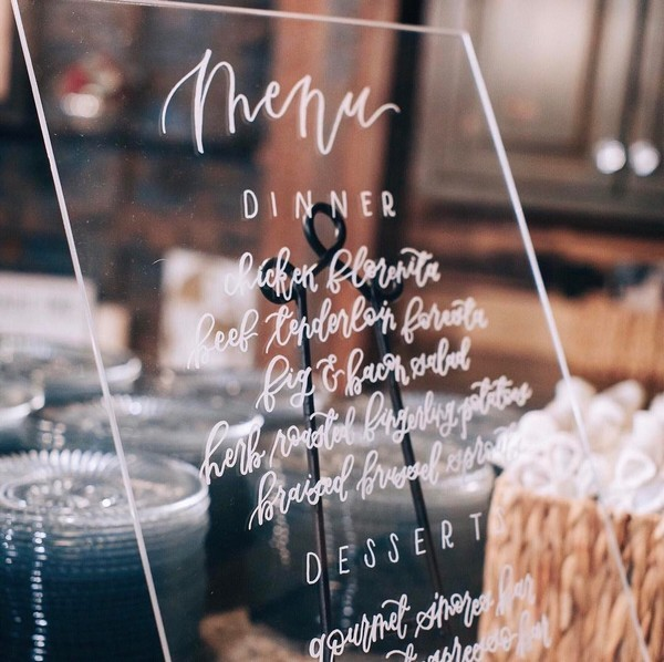 chic acrylic menu wedding sign ideas