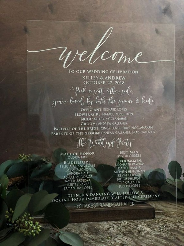 chic acrylic wedding program sign