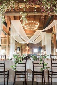 chic barn wedding reception ideas with draping