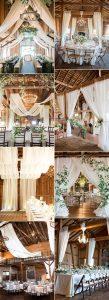 chic barn wedding reception ideas with fabric draping
