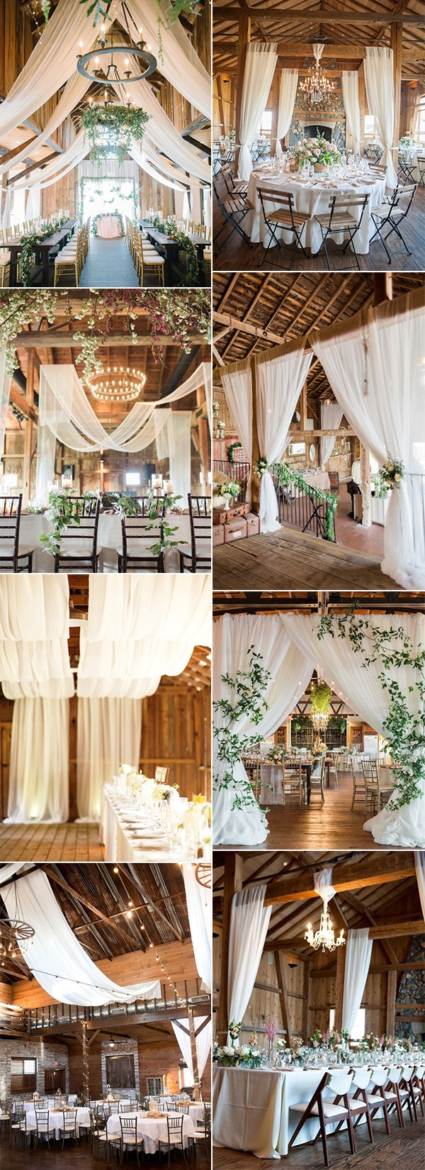 chic barn wedding reception ideas with fabric draping
