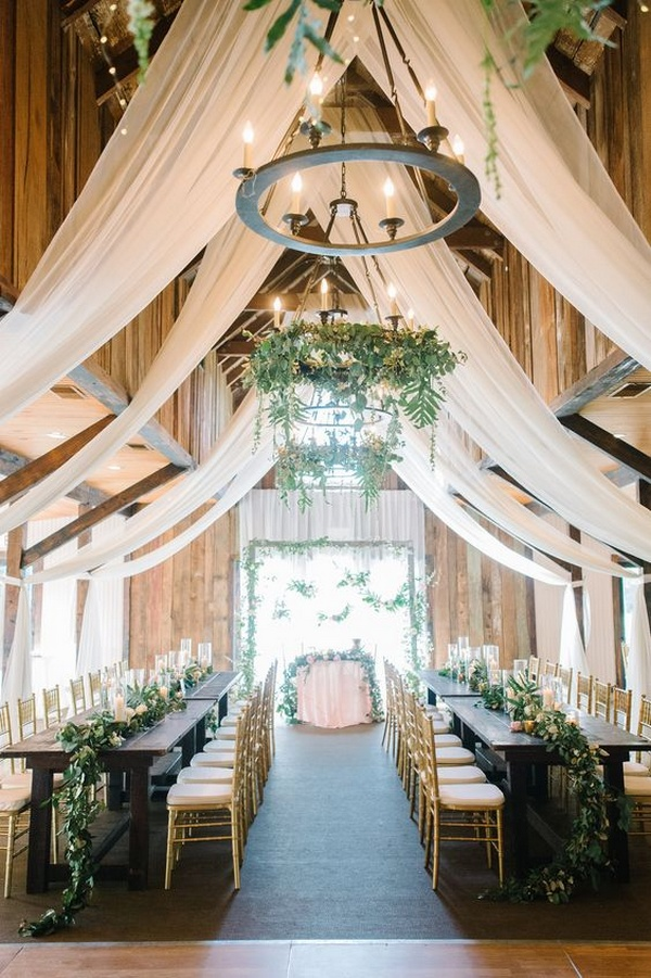 chic barn wedding reception ideas with ivory draping - Oh Best Day ...