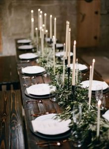 chic greenery wedding table decorations with white long taper candles