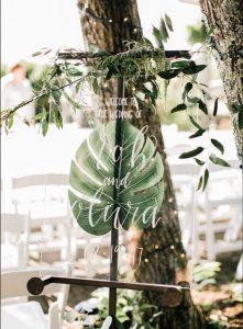 chic greenery wedding welcome sign