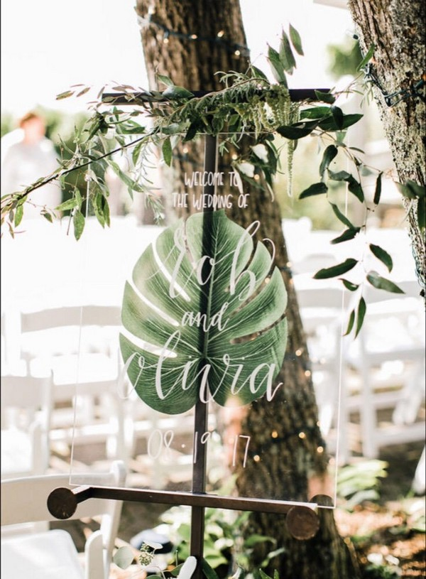 chic greenery wedding welcome sign