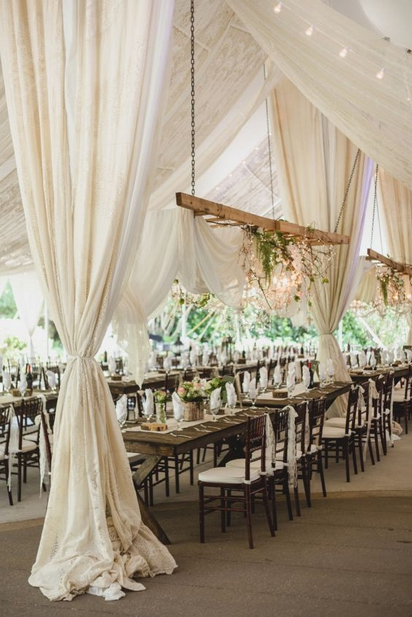 chic rustic wedding reception decorations with fabric draping