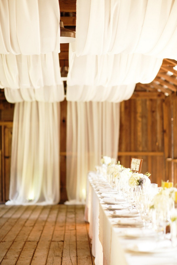 chic rustic wedding reception ideas with draped fabric