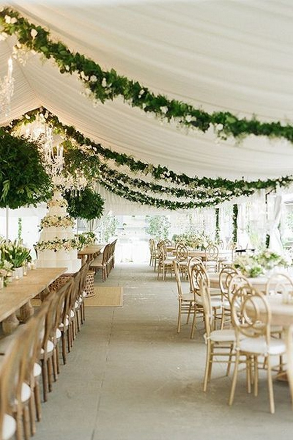 chic wedding reception ideas with draped greenery and fabric