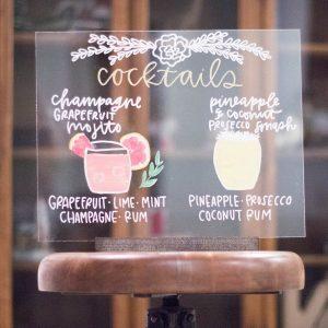 cocktail acrylic wedding sign ideas