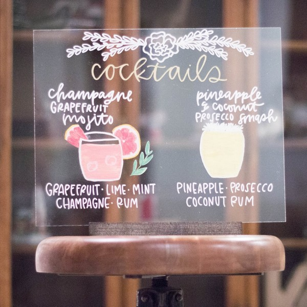 cocktail acrylic wedding sign ideas