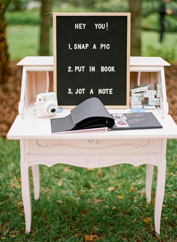 creative wedding guest book ideas with Polaroid