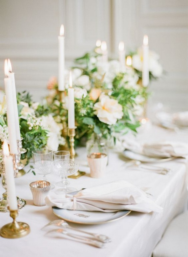 elegant neutral wedding centerpiece ideas with candles