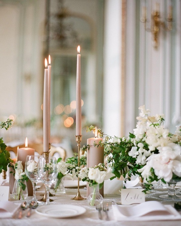elegant neutral wedding table decoration ideas with taper candles