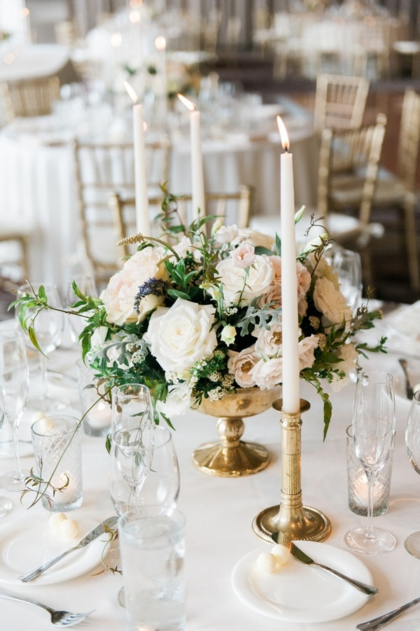 elegant wedding centerpiece ideas with white taper candles