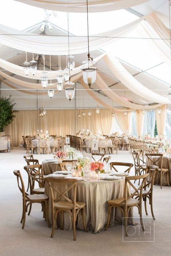 elegant wedding reception ideas with ivory draping