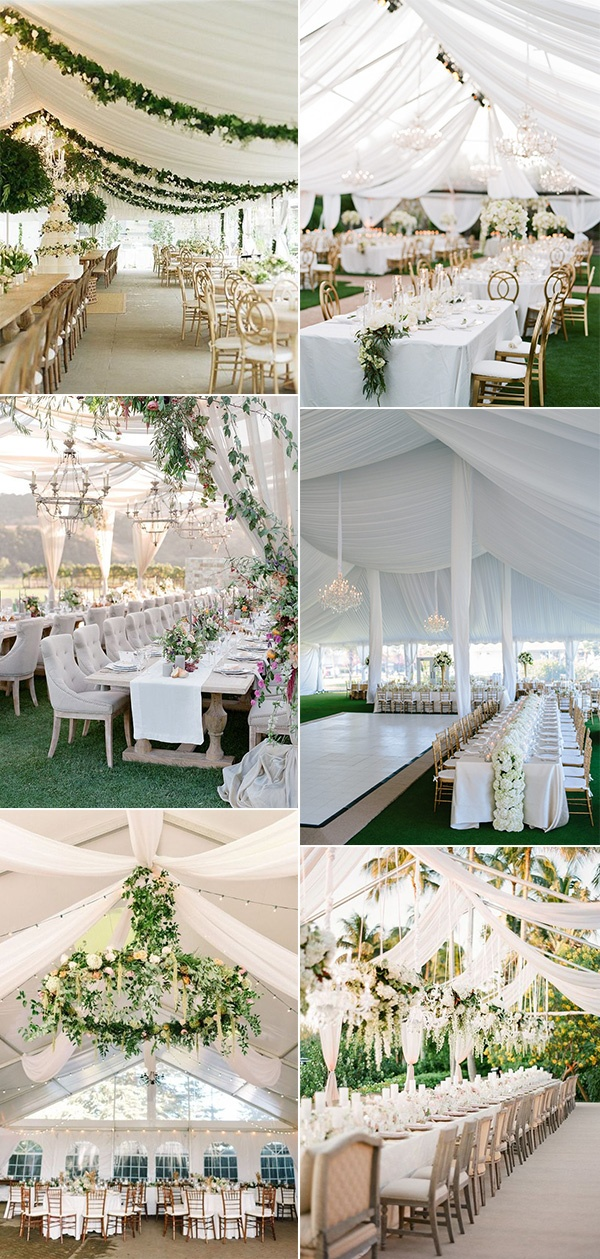 elegant white and greenery wedding reception ideas with fabric draping