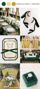 emerald green and mustard wedding color ideas