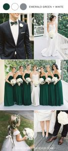 emerald green and white wedding color ideas
