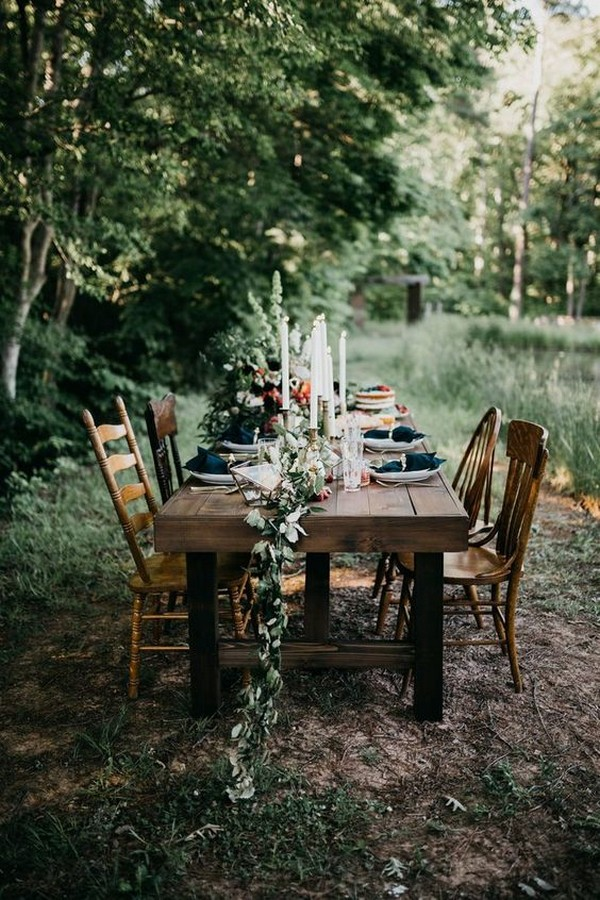 forest inspired wedding reception table setting ideas
