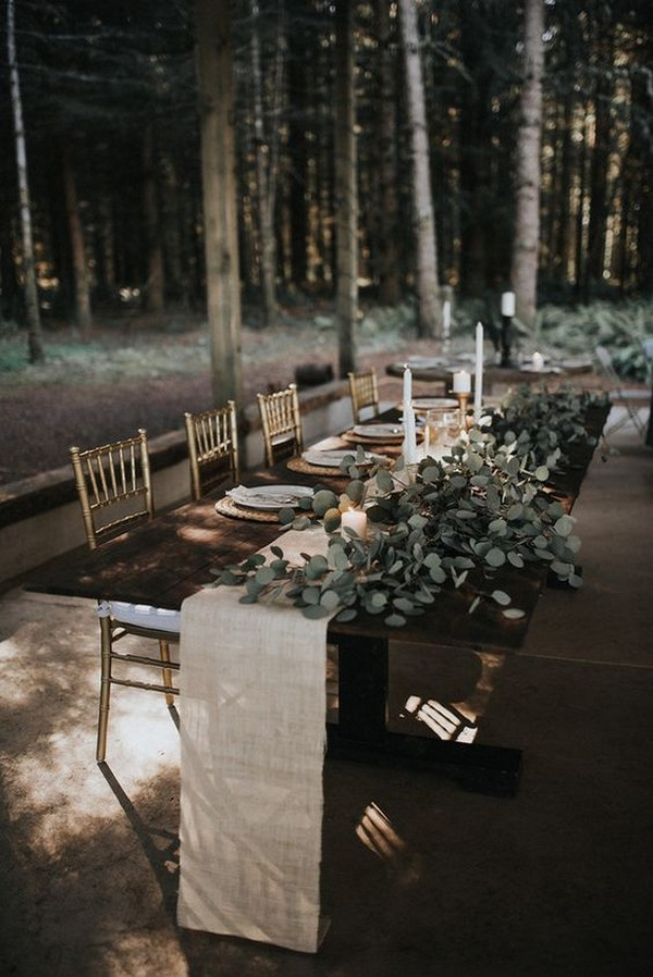 forest wedding reception table setting ideas