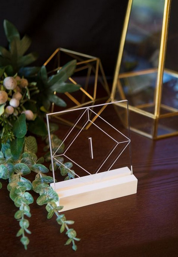 geometric acrylic wedding table number ideas