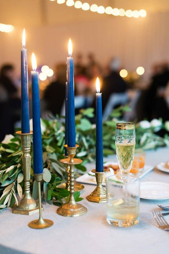 gold and blue wedding table decoration ideas