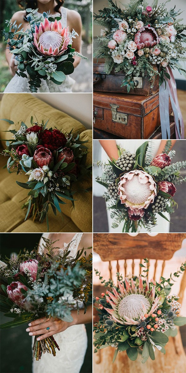 gorgeous proteas wedding bouquet ideas for 2019 trends