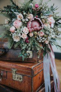 gorgeous wedding bouquet with protea