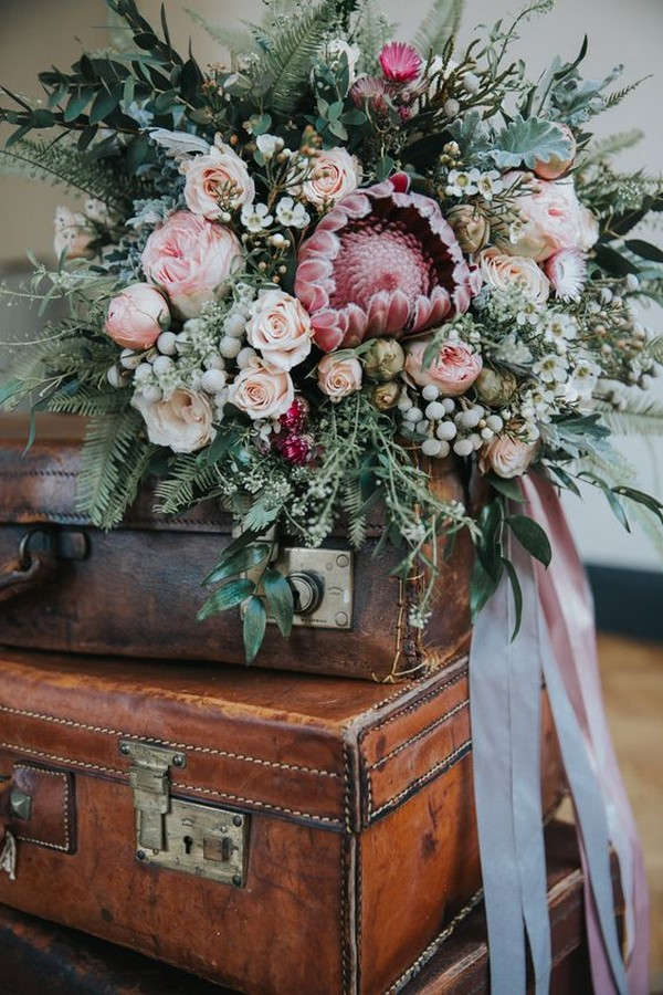 gorgeous wedding bouquet with protea