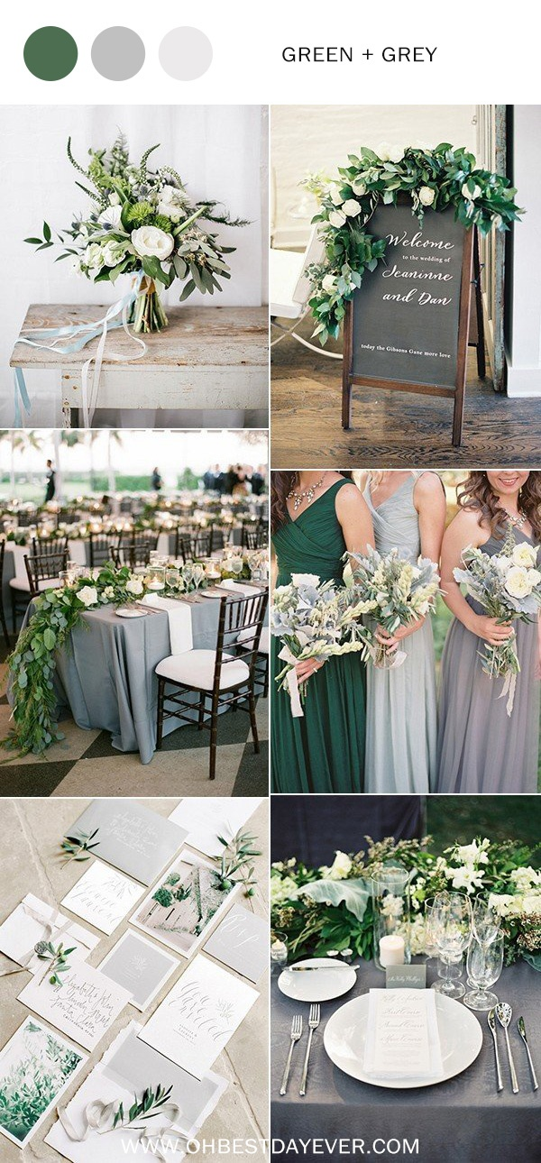 green and gray wedding color ideas for 2019