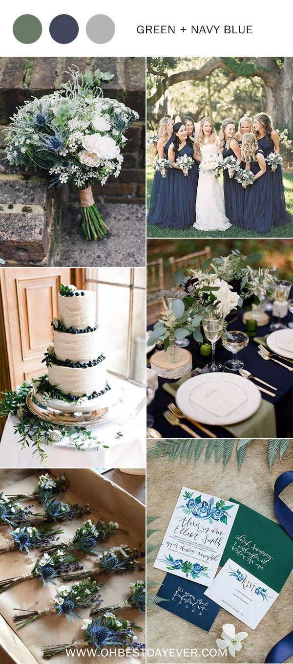green and navy blue wedding color ideas